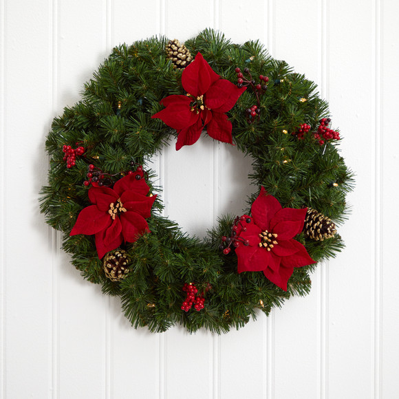 24 Poinsettia Berry and Pinecone Artificial Wreath with 50 Warm White LED Lights - SKU #W1301 - 4