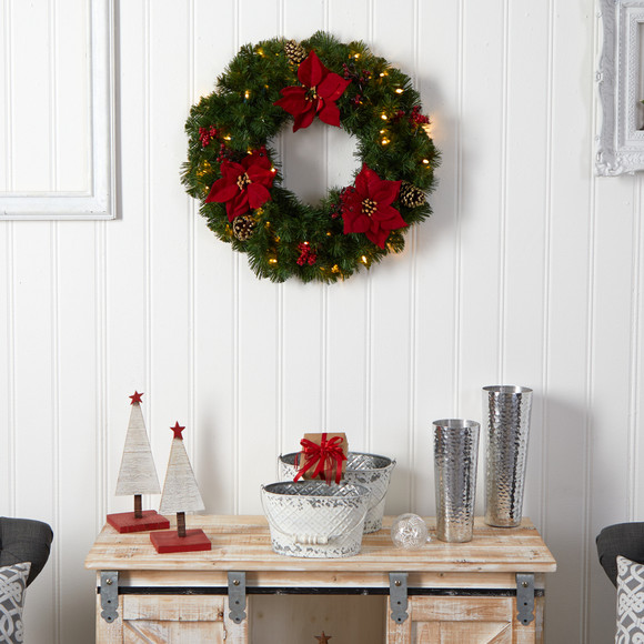 24 Poinsettia Berry and Pinecone Artificial Wreath with 50 Warm White LED Lights - SKU #W1301 - 5