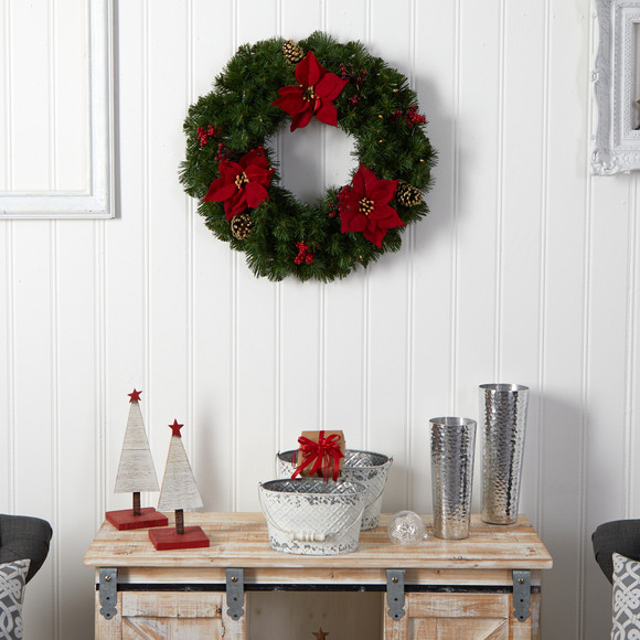 24 Poinsettia Berry and Pinecone Artificial Wreath with 50 Warm White LED Lights - SKU #W1301 - 6