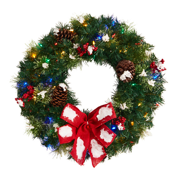 24 Snow Tipped Berry and Pinecone Artificial Wreath with Bow and 50 Multi-Colored LED Lights - SKU #W1302
