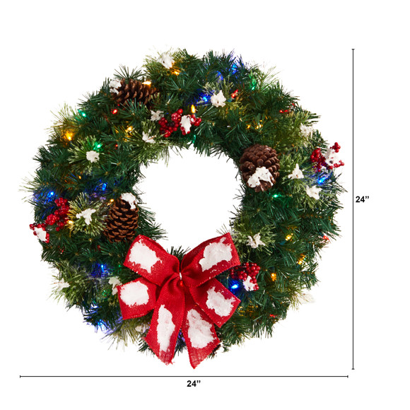 24 Snow Tipped Berry and Pinecone Artificial Wreath with Bow and 50 Multi-Colored LED Lights - SKU #W1302 - 1