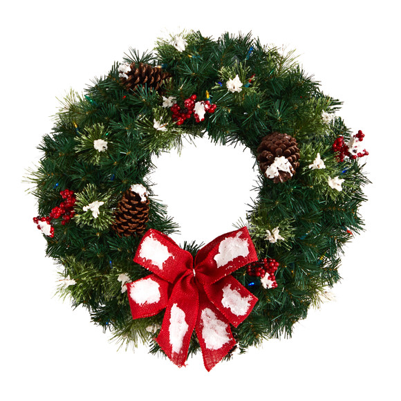24 Snow Tipped Berry and Pinecone Artificial Wreath with Bow and 50 Multi-Colored LED Lights - SKU #W1302 - 2