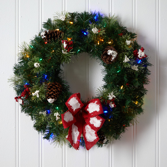 24 Snow Tipped Berry and Pinecone Artificial Wreath with Bow and 50 Multi-Colored LED Lights - SKU #W1302 - 3