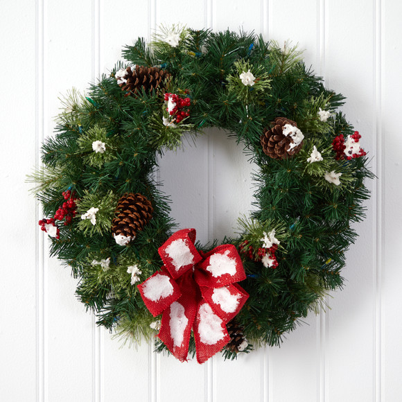 24 Snow Tipped Berry and Pinecone Artificial Wreath with Bow and 50 Multi-Colored LED Lights - SKU #W1302 - 4
