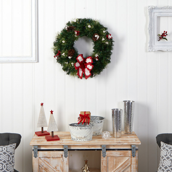24 Snow Tipped Berry and Pinecone Artificial Wreath with Bow and 50 Multi-Colored LED Lights - SKU #W1302 - 5