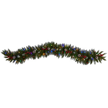 6 Snow Tipped Extra Wide Christmas Garland with Pinecones Berries and 100 Multicolor LED Lights - SKU #W1303