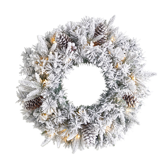20 Flocked Artificial Christmas Wreath with 35 Warm White LED Lights - SKU #W1304
