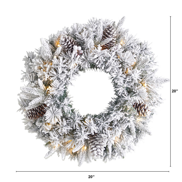 20 Flocked Artificial Christmas Wreath with 35 Warm White LED Lights - SKU #W1304 - 1