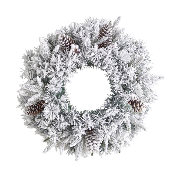 20 Flocked Artificial Christmas Wreath with 35 Warm White LED Lights - SKU #W1304 - 2