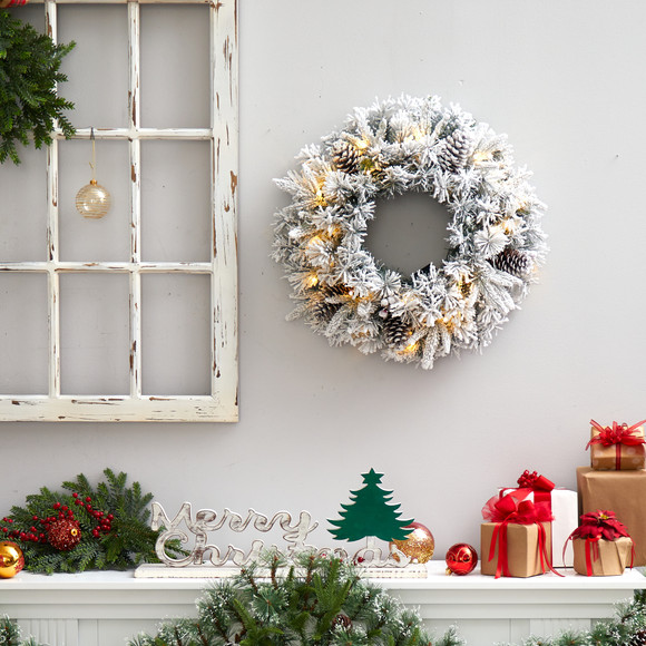 20 Flocked Artificial Christmas Wreath with 35 Warm White LED Lights - SKU #W1304 - 3