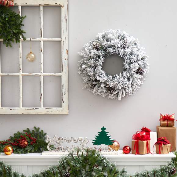 20 Flocked Artificial Christmas Wreath with 35 Warm White LED Lights - SKU #W1304 - 4
