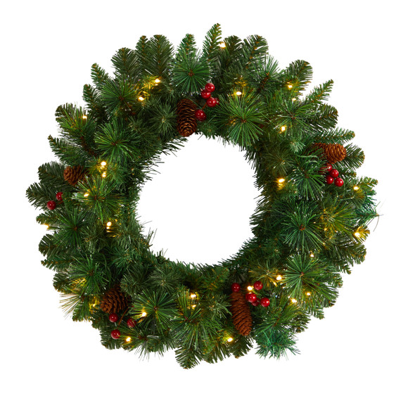 20 Frosted Pine Artificial Christmas Wreath with Pinecones Berries and 35 Warm White LED Lights - SKU #W1305