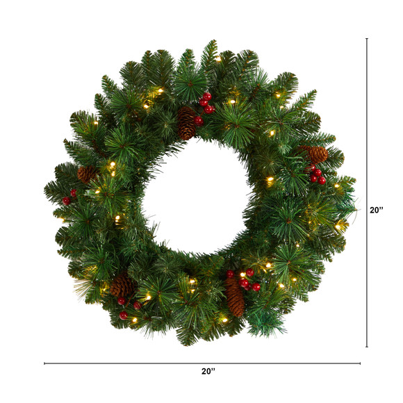 20 Frosted Pine Artificial Christmas Wreath with Pinecones Berries and 35 Warm White LED Lights - SKU #W1305 - 1