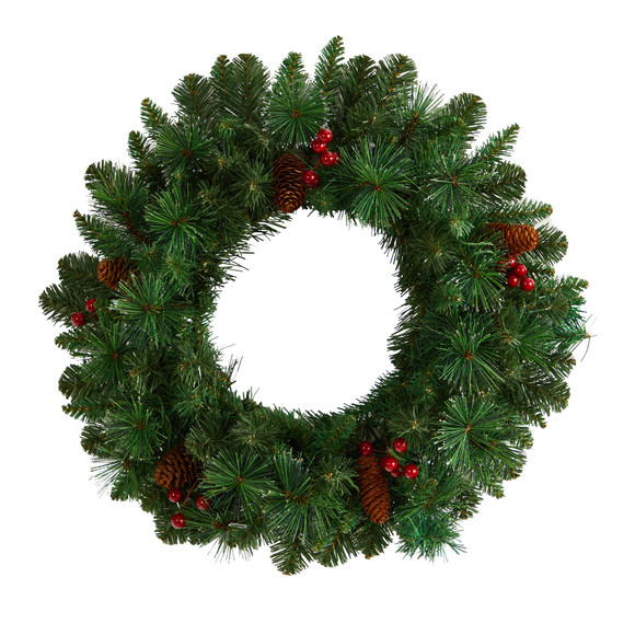 20 Frosted Pine Artificial Christmas Wreath with Pinecones Berries and 35 Warm White LED Lights - SKU #W1305 - 2