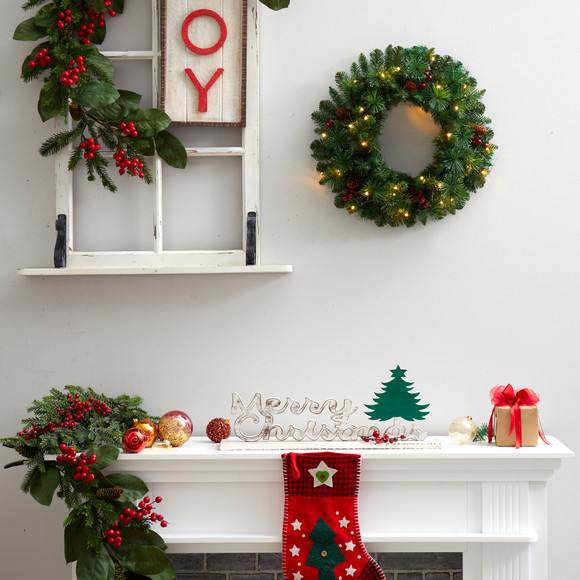20 Frosted Pine Artificial Christmas Wreath with Pinecones Berries and 35 Warm White LED Lights - SKU #W1305 - 3