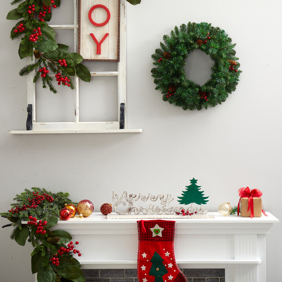 20 Frosted Pine Artificial Christmas Wreath with Pinecones Berries and 35 Warm White LED Lights - SKU #W1305 - 4