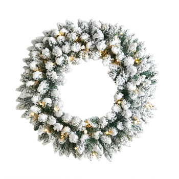 24 Flocked Artificial Christmas Wreath with 160 Bendable Branches and 35 Warm White LED Lights - SKU #W1306