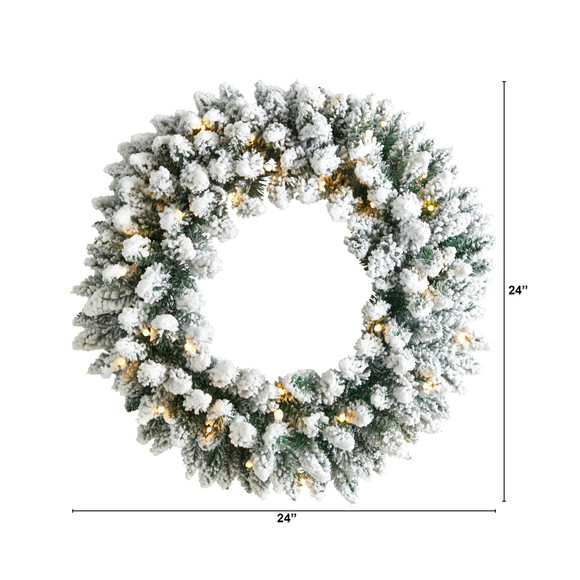24 Flocked Artificial Christmas Wreath with 160 Bendable Branches and 35 Warm White LED Lights - SKU #W1306 - 1