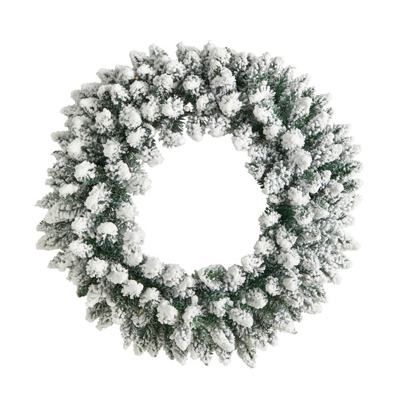24 Flocked Artificial Christmas Wreath with 160 Bendable Branches and 35 Warm White LED Lights - SKU #W1306 - 2
