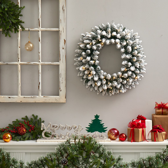 24 Flocked Artificial Christmas Wreath with 160 Bendable Branches and 35 Warm White LED Lights - SKU #W1306 - 3