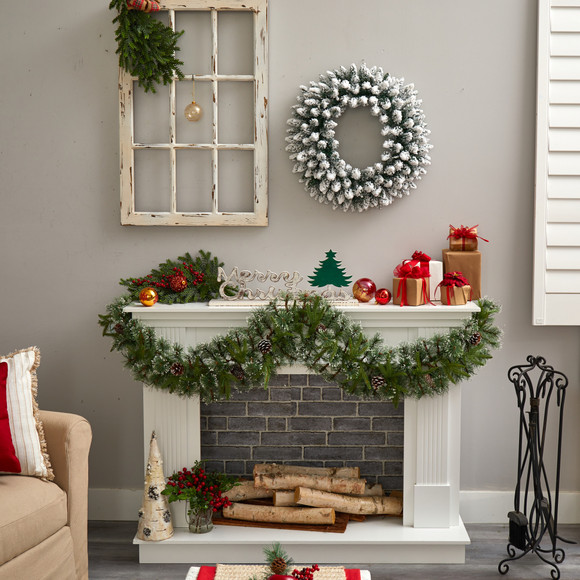 24 Flocked Artificial Christmas Wreath with 160 Bendable Branches and 35 Warm White LED Lights - SKU #W1306 - 6