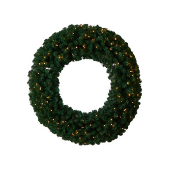 48 Large Artificial Christmas Wreath with 714 Bendable Branches and 200 Warm White LED Lights - SKU #W1308