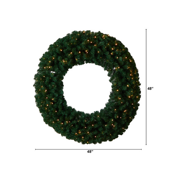 48 Large Artificial Christmas Wreath with 714 Bendable Branches and 200 Warm White LED Lights - SKU #W1308 - 1