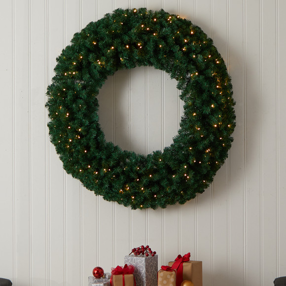 48 Large Artificial Christmas Wreath with 714 Bendable Branches and 200 Warm White LED Lights - SKU #W1308 - 3