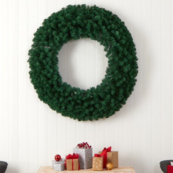 48 Large Artificial Christmas Wreath with 714 Bendable Branches and 200 Warm White LED Lights - SKU #W1308 - 4