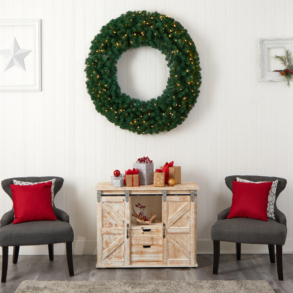 48 Large Artificial Christmas Wreath with 714 Bendable Branches and 200 Warm White LED Lights - SKU #W1308 - 5