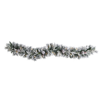 6 Flocked Artificial Christmas Garland with Pine Cones and 35 Warm White LED Lights - SKU #W1309