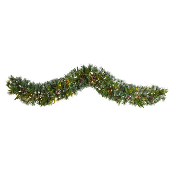 6 Snow Tipped Christmas Artificial Garland with 35 Clear LED Lights and Pine Cones - SKU #W1311