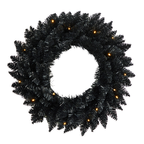 18 Black Artificial Wreath with 20 Warm White LED Lights - SKU #W1313