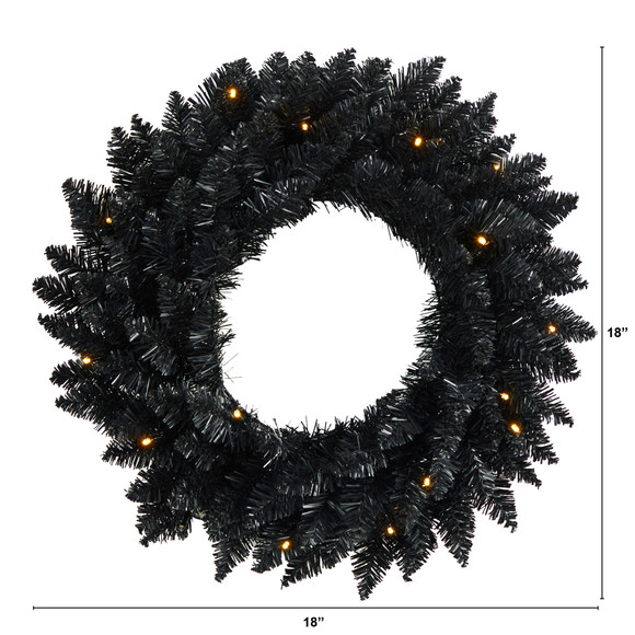 18 Black Artificial Wreath with 20 Warm White LED Lights - SKU #W1313 - 1