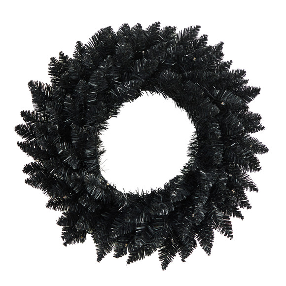 18 Black Artificial Wreath with 20 Warm White LED Lights - SKU #W1313 - 2