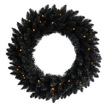 24 Black Artificial Wreath with 35 Warm White LED Lights - SKU #W1314