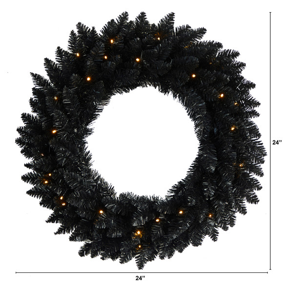 24 Black Artificial Wreath with 35 Warm White LED Lights - SKU #W1314 - 1