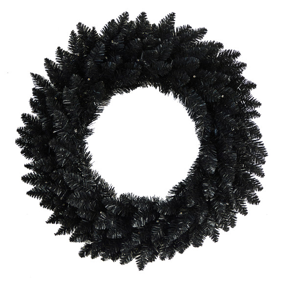 24 Black Artificial Wreath with 35 Warm White LED Lights - SKU #W1314 - 2