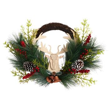 22 Holiday Christmas Woodland Deer Pine Cones and Berries Wreath - SKU #W1315