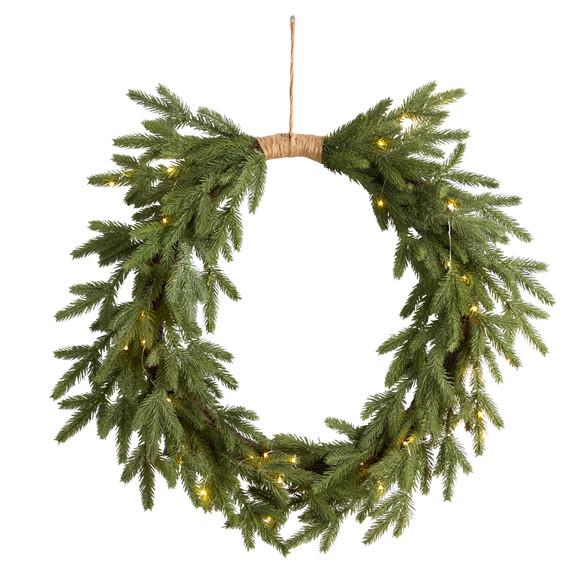 24 Holiday Christmas Pre-Lit Cascading Pine Wreath - SKU #W1317