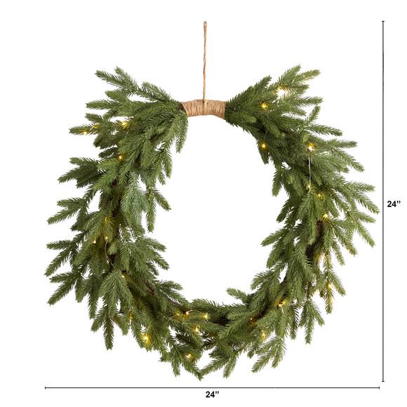 24 Holiday Christmas Pre-Lit Cascading Pine Wreath - SKU #W1317 - 1