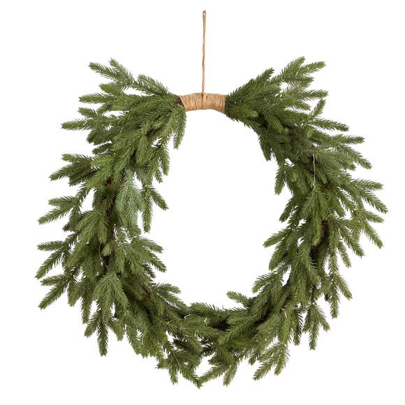 24 Holiday Christmas Pre-Lit Cascading Pine Wreath - SKU #W1317 - 2