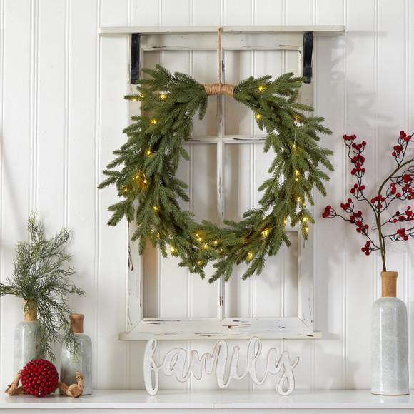 24 Holiday Christmas Pre-Lit Cascading Pine Wreath - SKU #W1317 - 3