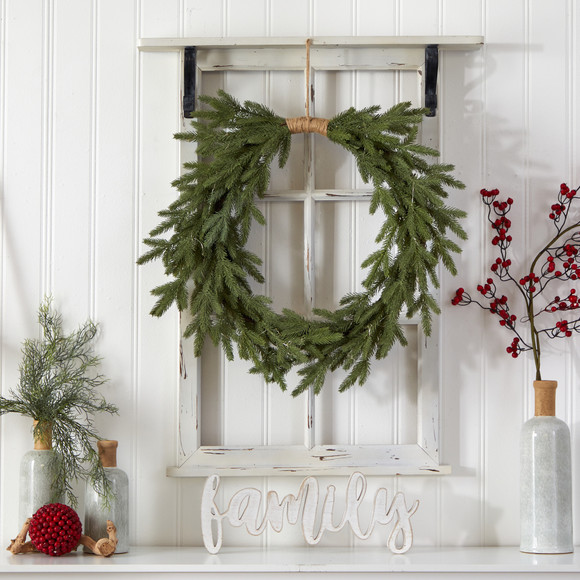 24 Holiday Christmas Pre-Lit Cascading Pine Wreath - SKU #W1317 - 4