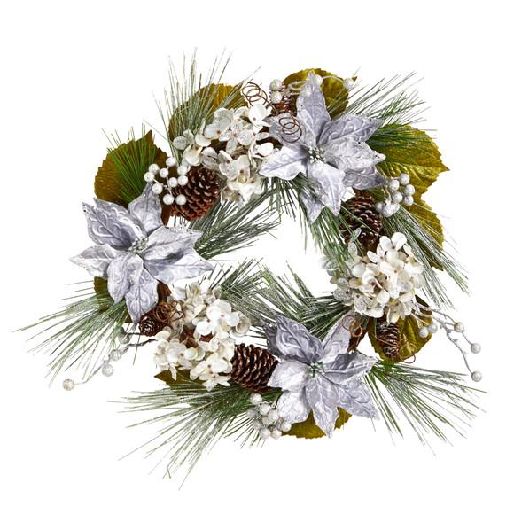 24 Silver Poinsettia Hydrangea and Pinecones Artificial Christmas Wreath - SKU #W1318