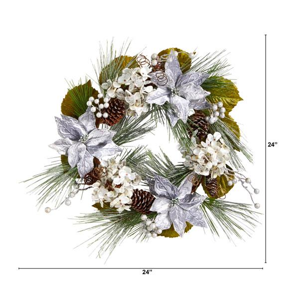 24 Silver Poinsettia Hydrangea and Pinecones Artificial Christmas Wreath - SKU #W1318 - 1