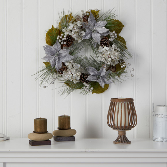 24 Silver Poinsettia Hydrangea and Pinecones Artificial Christmas Wreath - SKU #W1318 - 2