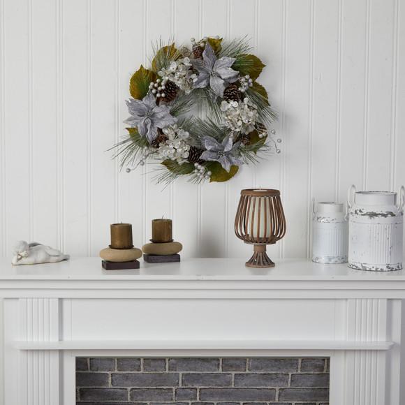 24 Silver Poinsettia Hydrangea and Pinecones Artificial Christmas Wreath - SKU #W1318 - 3