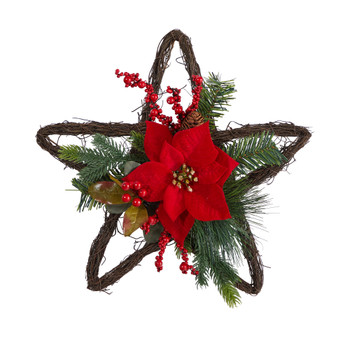 16 Holiday Christmas Poinsettia Star Twig Wreath - SKU #W1319